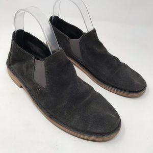 Vince Grey Velvet Suede Flats Loafers Shoes